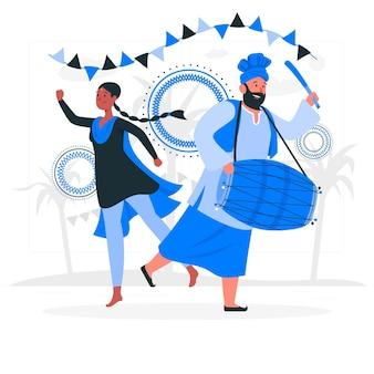 Gente celebrando ilustración de concepto de festival de lohri