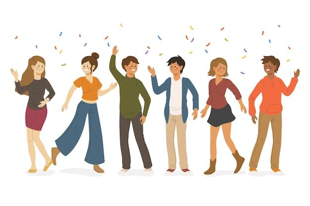 Gente celebrando juntos concepto de ilustración