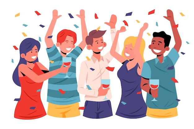 Gente celebrando juntos diseño