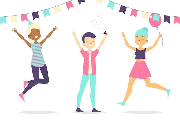 Gente celebrando juntos en el interior