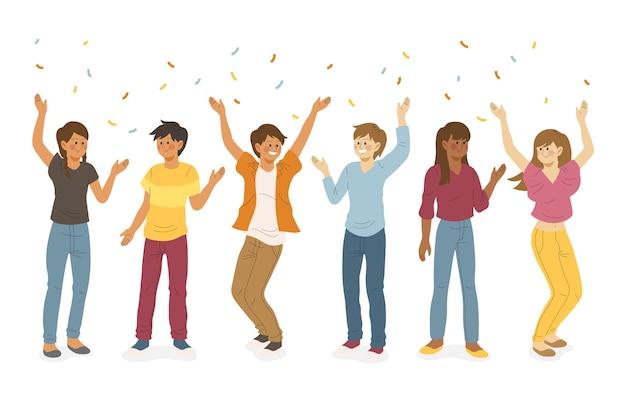 Gente celebrando juntos tema de ilustración