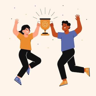 Gente celebrando el logro de una meta.