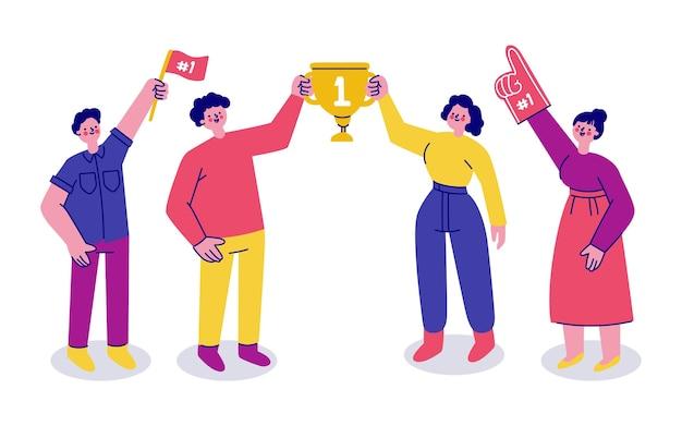 Gente celebrando el logro de un objetivo ilustrado.