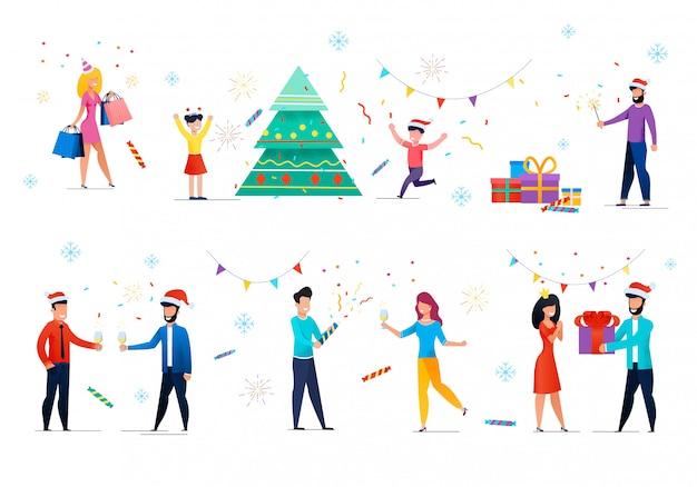 Gente celebrando navidad, año nuevo conjunto de vectores