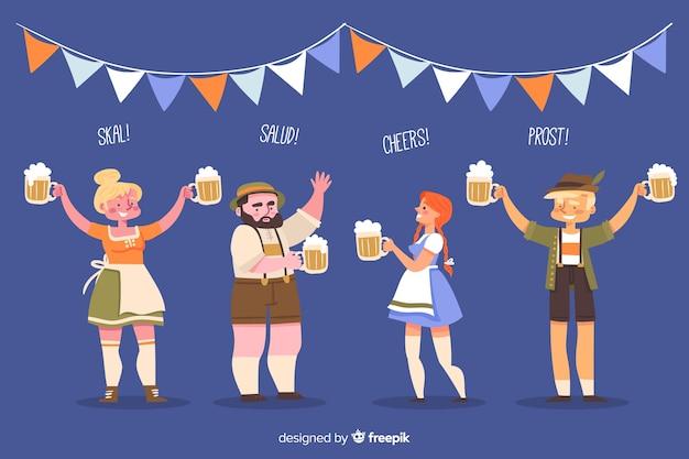 Gente celebrando el oktoberfest en diseño plano