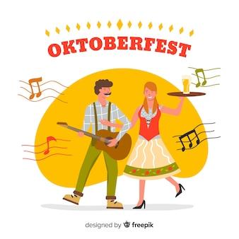 Gente celebrando el oktoberfest estilo dibujo