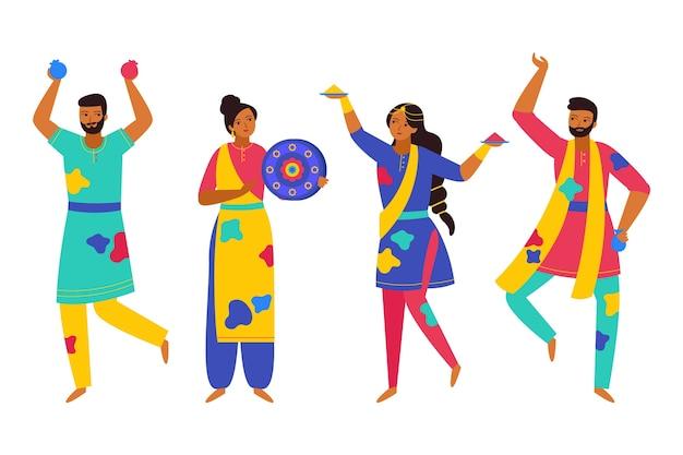 Gente celebrando personajes aislados del festival holi