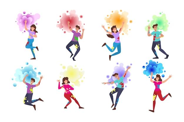 Gente celebrando personajes del festival holi