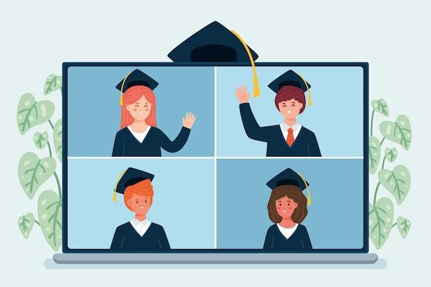 Gente celebrando su graduación en línea