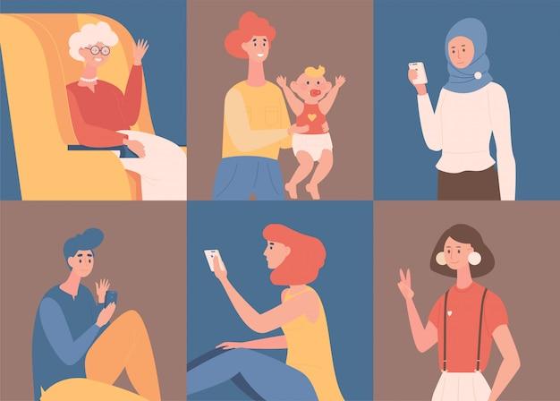 Gente chateando y hablando con la ilustración de dibujos animados de teléfonos inteligentes. citas en línea, red social.