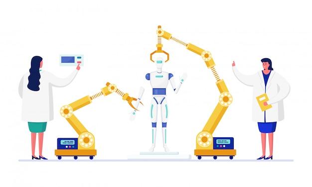 Gente científica en la ilustración del laboratorio de innovación, médicos de dibujos animados trabajando en el proceso de creación de robots en blanco