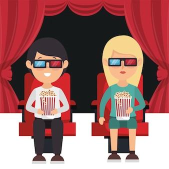 Gente de cine comiendo palomitas de maíz y viendo una película en 3d