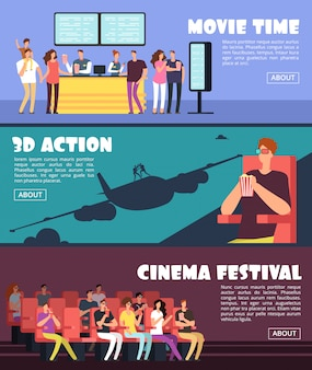 Gente en el cine, plantilla de banners horizontales de película. fecha de familia y pareja en concepto de vector de teatro 3d