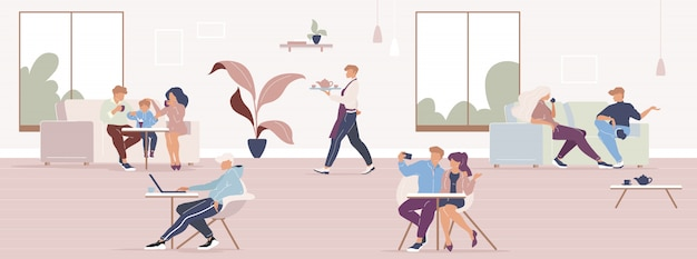 La gente en la ciudad de café de color plano ilustración vectorial. almuerzo de amigos en la cafetería. familia pasando tiempo en restaurante personajes de dibujos animados en 2d con interior de cafetería