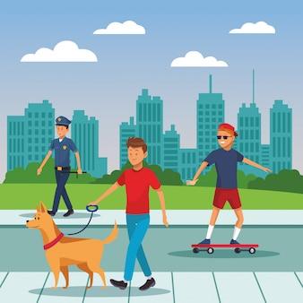 Gente de la ciudad caminando dibujos animados