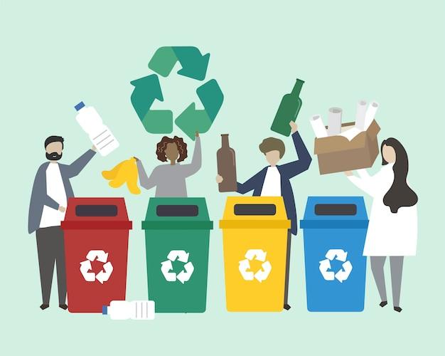 Gente clasificando basura en papeleras de reciclaje ilustración