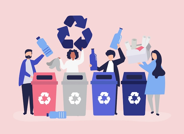 Gente clasificando basura para reciclar.