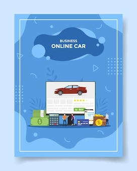 Gente de coche en línea de negocios alrededor del coche calculadora de dinero en la computadora de pantalla