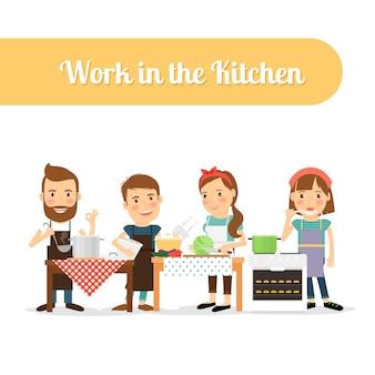 Gente en la cocina cocinando comida.