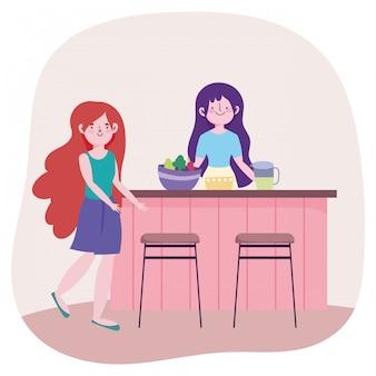 Gente cocinando, chicas con tazón de jugo de comida jarra en mostrador de la cocina