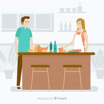Gente cocinando en la cocina