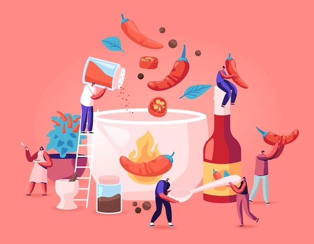 Gente cocinando comida con concepto de hot chili. ilustración plana de dibujos animados