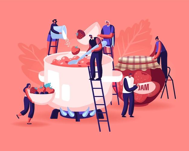 Gente cocinando concepto de mermelada. ilustración plana de dibujos animados