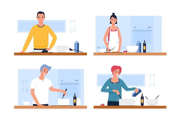 Gente cocinando ilustración