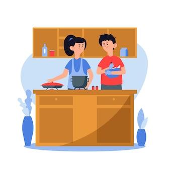 Gente cocinando juntos en la cocina
