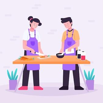Gente cocinando paquete de ilustración