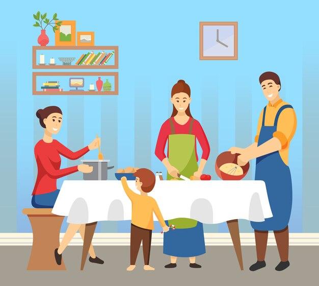 Gente cocinando platos familia preparándose para vacaciones