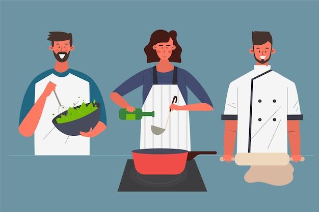 Gente cocinando varios platos