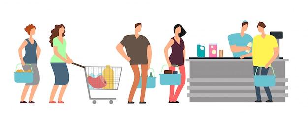 Gente de la cola grande que hace compras en el escritorio de efectivo con el cajero en la ilustración del vector de la historieta del supermercado