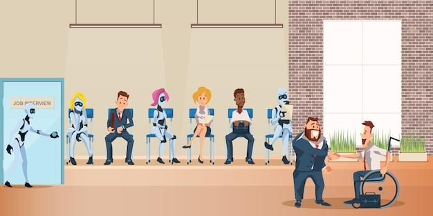 La gente y la cola de robots para la entrevista de trabajo en la oficina