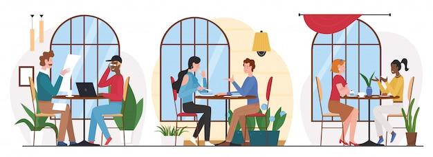 La gente come en la ilustración de café. grupo de personajes de amigos de dibujos animados almorzando o cenando en la cafetería o en el interior del patio de comidas, reunión de negocios o conversación amistosa en blanco