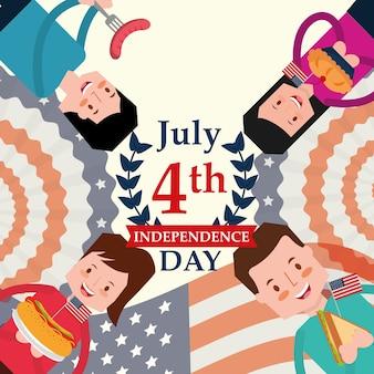 Gente y comida día de la independencia americana