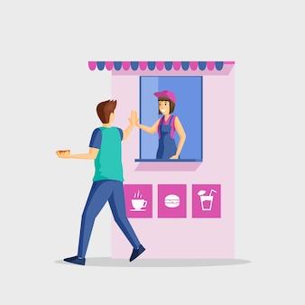 Gente y comida rápida puesto ilustración plana. servicio de satisfacción, gesto de despedida. cliente masculino y personajes de dibujos animados de dependienta aislados en blanco