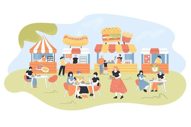 Gente comiendo en el patio de comidas. ilustración plana