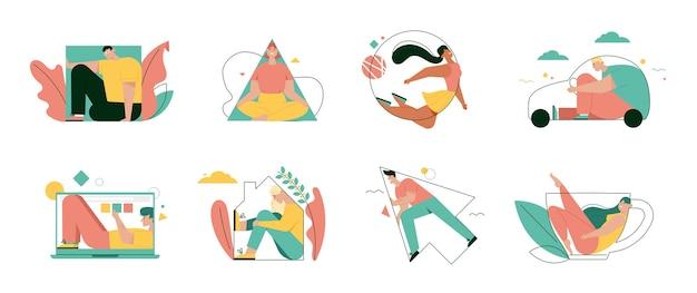 La gente completa varias formas aisladas. ilustración de personaje de vector de casa, trabajo, metáfora de movimiento
