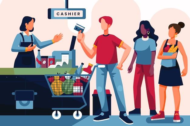 La gente compra comestibles