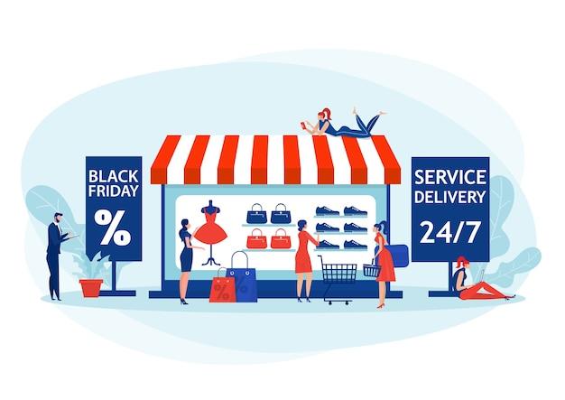 La gente compra el viernes negro, la oferta de la tienda en línea y el producto con descuento.
