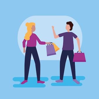 Gente comprando con bolsas