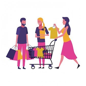 Gente comprando dibujos animados