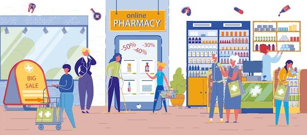Gente comprando en una farmacia con grandes descuentos