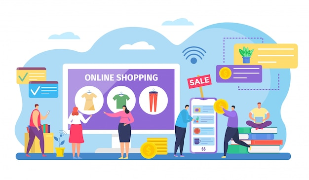 Gente comprando en línea, personajes de pequeños compradores de dibujos animados comprando ropa en venta por internet en la aplicación móvil en blanco