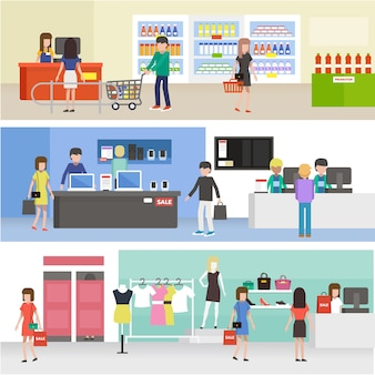 Gente comprando en el supermercado, comprando productos en ropa, electrónica y tienda de comestibles
