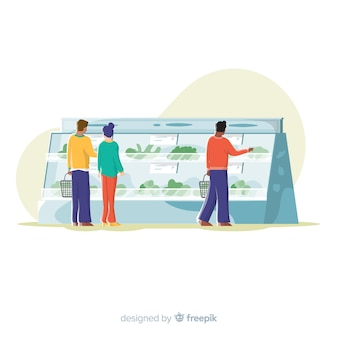 Gente comprando en el supermercado, ilustración con personajes