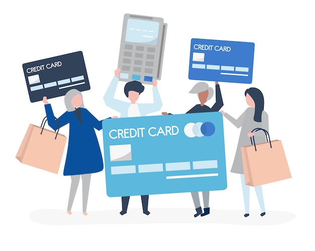 Gente comprando con tarjeta de crédito.