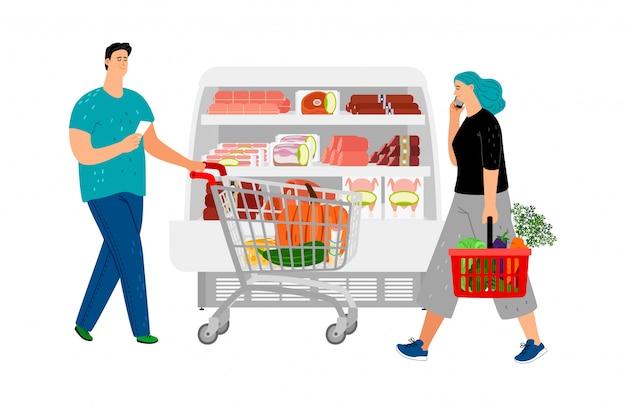 Gente de compras. hombre con carrito de compras, chica con cesta de la compra. ilustración de vector de tienda de abarrotes