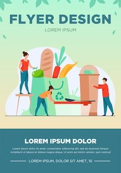 Gente de compras con ilustración de vector plano de bolsa ecológica. alimentos orgánicos y plásticos sostenibles. plantilla de volante de medio ambiente, futuro y reciclaje
